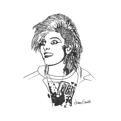 Sheree, drawing of a woman punk rocker